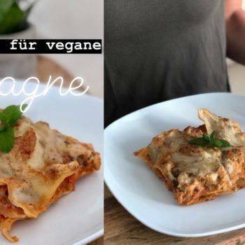 Vegane Lasagne mit Soja Chunks und veganem Mozzarella